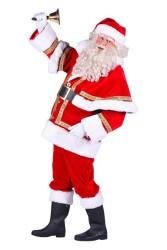 Kerstman Polyester deluxe met cape, Rood